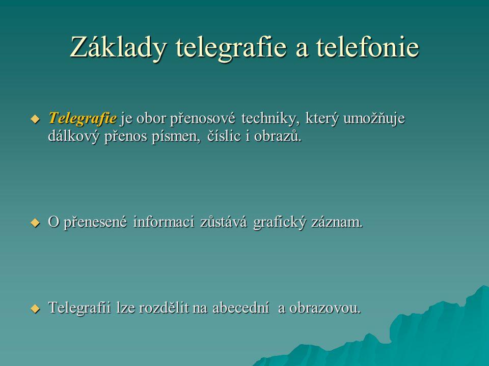 Základy telegrafie a telefonie  Telegrafie je obor přenosové techniky, který umožňuje dálkový přenos písmen, číslic i obrazů.