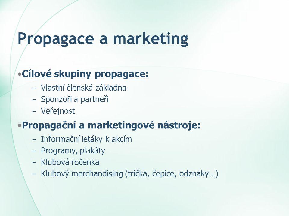 Propagace a marketing •Cílové skupiny propagace: − Vlastní členská základna − Sponzoři a partneři − Veřejnost •Propagační a marketingové nástroje: − I