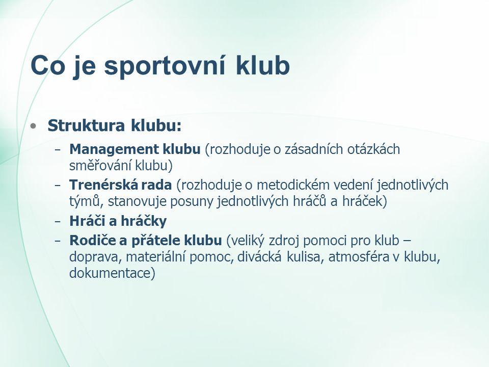 Co je sportovní klub •Struktura klubu: − Management klubu (rozhoduje o zásadních otázkách směřování klubu) − Trenérská rada (rozhoduje o metodickém ve