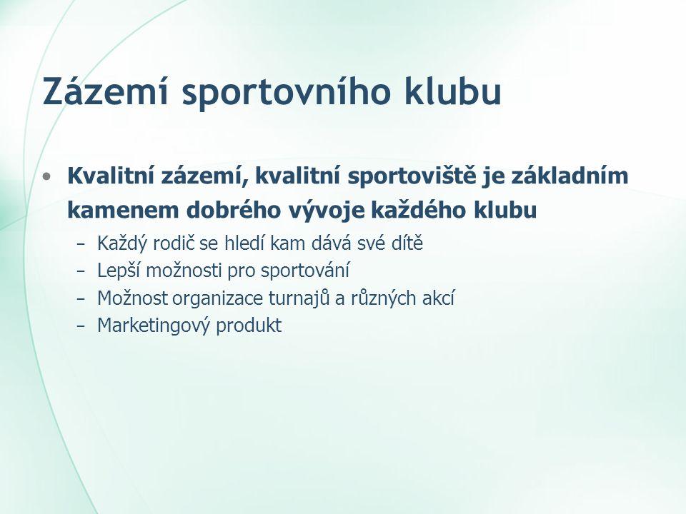 Zázemí sportovního klubu •Co je třeba mít na paměti při rozhodování o velikosti a kvalitě sportovního zázemí .
