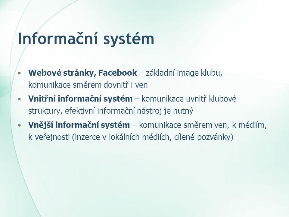 Informační systém •Webové stránky, Facebook – základní image klubu, komunikace směrem dovnitř i ven •Vnitřní informační systém – komunikace uvnitř klu