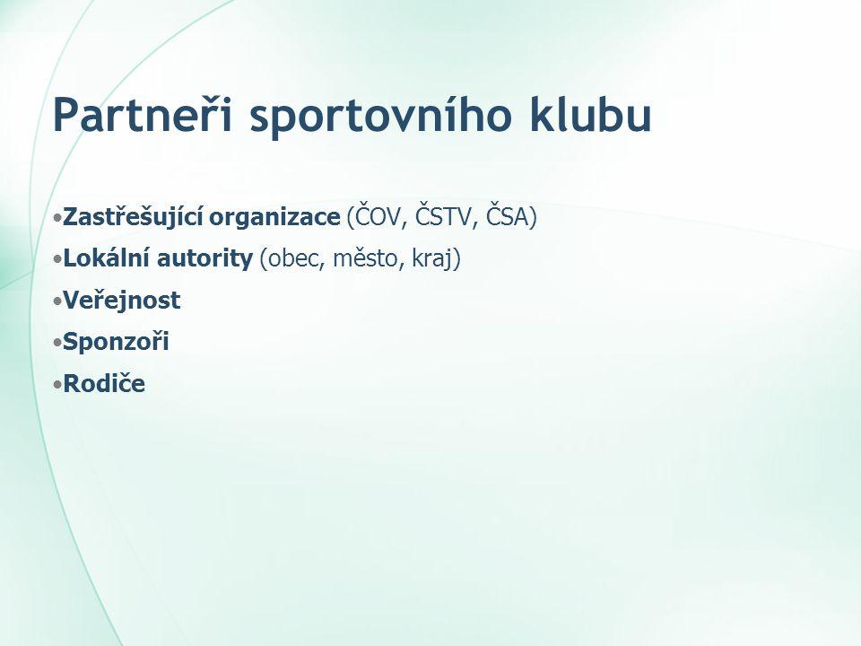 Partneři sportovního klubu •Zastřešující organizace (ČOV, ČSTV, ČSA) •Lokální autority (obec, město, kraj) •Veřejnost •Sponzoři •Rodiče