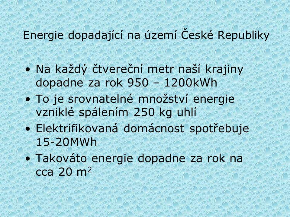 Energie dopadající na území České Republiky •Na každý čtvereční metr naší krajiny dopadne za rok 950 – 1200kWh •To je srovnatelné množství energie vzniklé spálením 250 kg uhlí •Elektrifikovaná domácnost spotřebuje 15-20MWh •Takováto energie dopadne za rok na cca 20 m 2