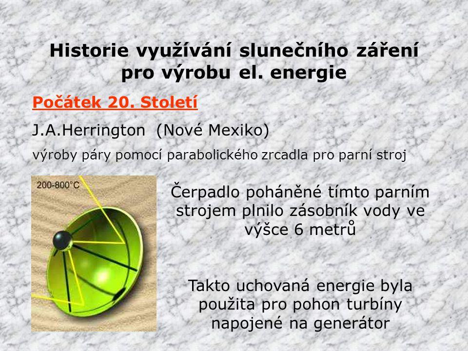 Historie využívání slunečního záření pro výrobu el.
