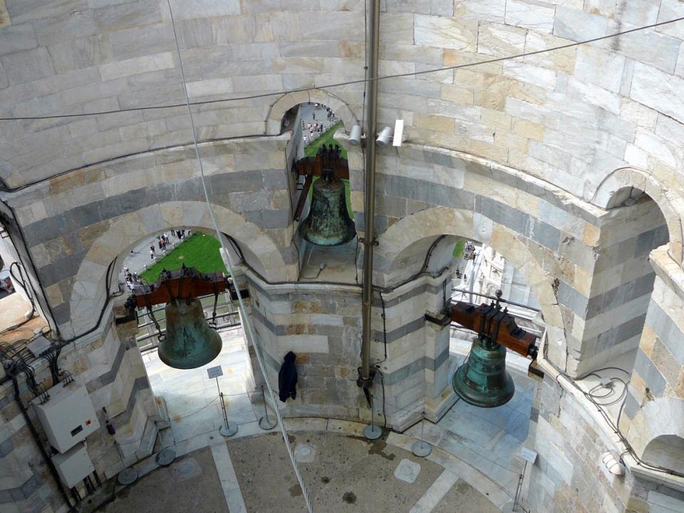 V horním pat ř e je zav ě šeno 7 zvon ů, v návaznosti na hudební stupnici, ve sm ě ru hodinových ru č i č ek 1.