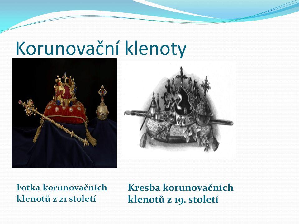 Korunovační klenoty Fotka korunovačních klenotů z 21 století Kresba korunovačních klenotů z 19.