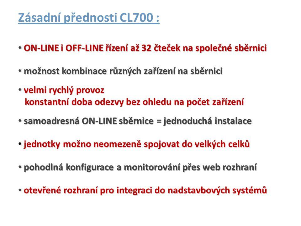 Zásadní přednosti CL700 : • samoadresná ON-LINE sběrnice = jednoduchá instalace • pohodlná konfigurace a monitorování přes web rozhraní • jednotky mož