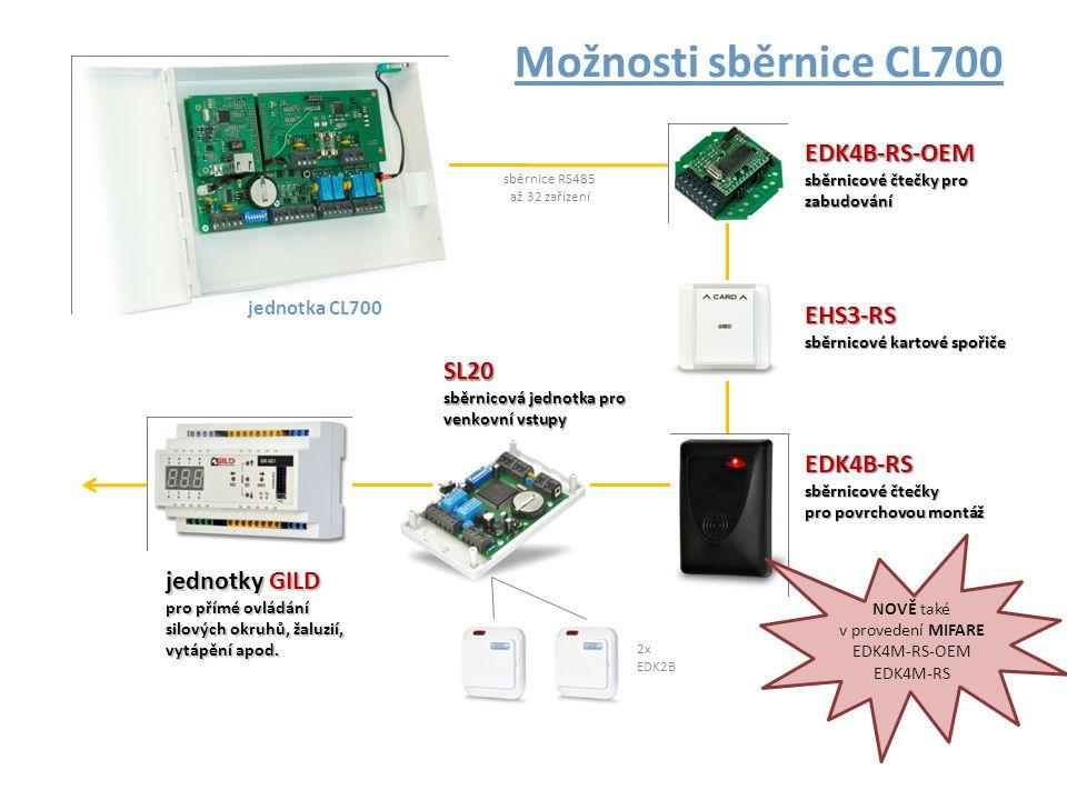 Technické údaje CL700 : • až 10 000 karet, včetně oprávnění pro každou čtečku • pracuje s libovolnými ID médii podle připojených čteček • vstupy a výstupy pro spolupráci s EZS • 30 000 záznamů historie (pro OFF-line provoz) • délka sběrnice až 1200 metrů • až 32 výstupů a 32 vstupů na každé jednotce • komunikace: Ethernet, RS485, RS232, USB
