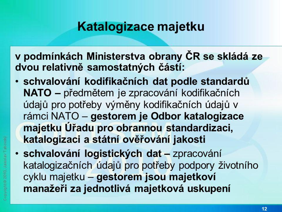 Katalogizace majetku v podmínkách Ministerstva obrany ČR se skládá ze dvou relativně samostatných částí: • schvalování kodifikačních dat podle standar