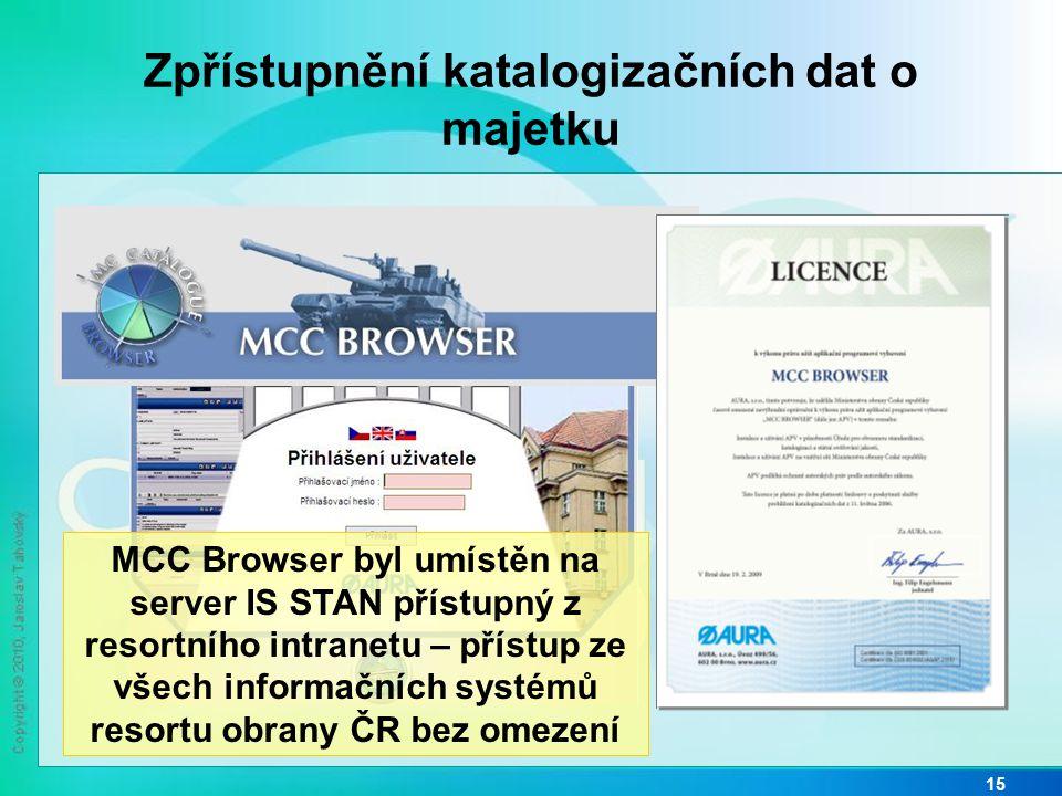 Zpřístupnění katalogizačních dat o majetku 15 MCC Browser byl umístěn na server IS STAN přístupný z resortního intranetu – přístup ze všech informační
