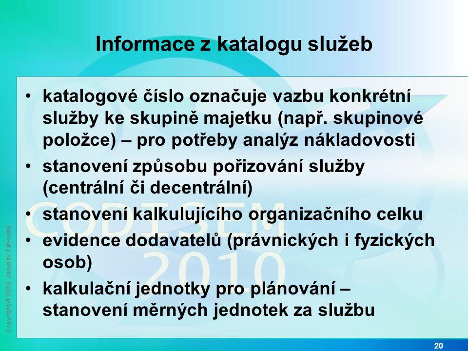 Informace z katalogu služeb •katalogové číslo označuje vazbu konkrétní služby ke skupině majetku (např. skupinové položce) – pro potřeby analýz náklad