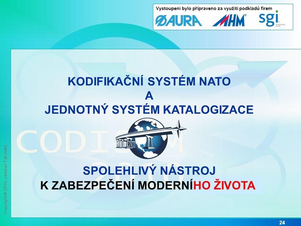 24 KODIFIKAČNÍ SYSTÉM NATO A JEDNOTNÝ SYSTÉM KATALOGIZACE SPOLEHLIVÝ NÁSTROJ K ZABEZPEČENÍ MODERNÍ LOGISTIKY HO ŽIVOTA Vystoupení bylo připraveno za využití podkladů firem
