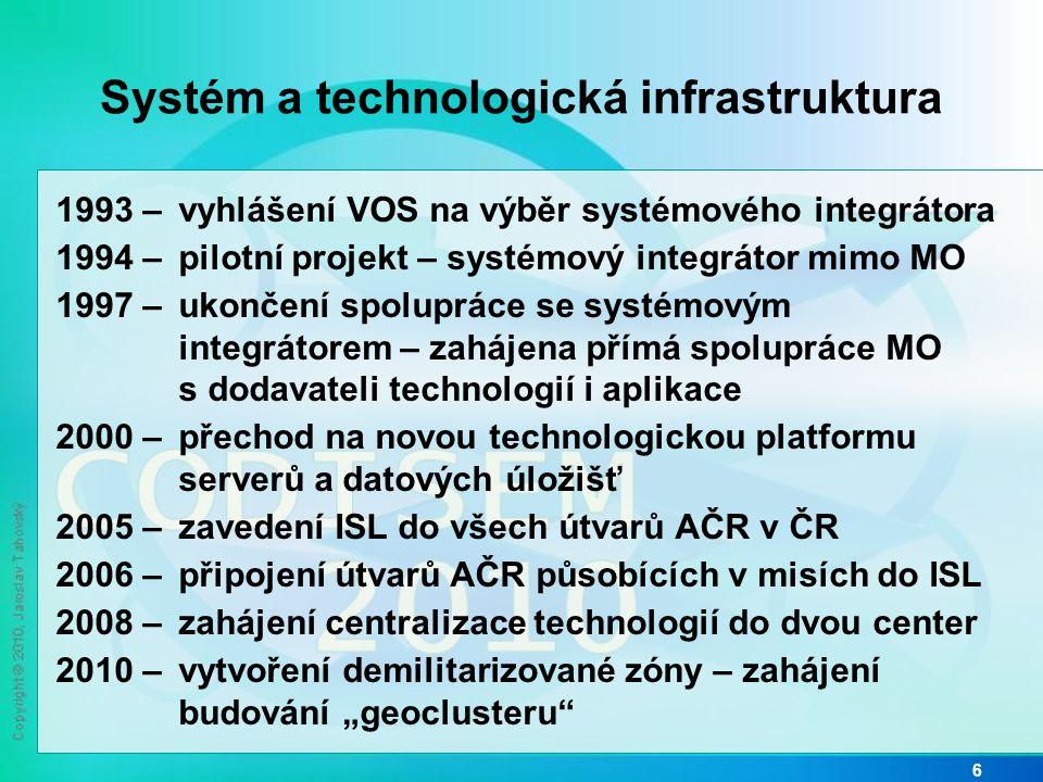 """Systém a technologická infrastruktura 1993 – vyhlášení VOS na výběr systémového integrátora 1994 – pilotní projekt – systémový integrátor mimo MO 1997 – ukončení spolupráce se systémovým integrátorem – zahájena přímá spolupráce MO s dodavateli technologií i aplikace 2000 – přechod na novou technologickou platformu serverů a datových úložišť 2005 – zavedení ISL do všech útvarů AČR v ČR 2006 – připojení útvarů AČR působících v misích do ISL 2008 – zahájení centralizace technologií do dvou center 2010 – vytvoření demilitarizované zóny – zahájení budování """"geoclusteru 6"""