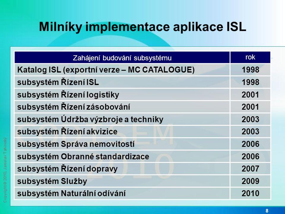 Funkčnost aplikace ISL v roce 2010 9 INFORMAČNÍ SYSTÉM LOGISTIKY IS standardizace Řízení akvizice Řízení odprodeje (MM + NM) Řízení nákupu majetku a služeb Služby Evidence služeb Centrální databáze projektů Řízení ISL Instalace a administrace ISL Distribuce dat Interface na IS MO, NATO, státní správy Řízení změn Web server ISL Řízení zásobování Likvidace a vyřazování (MM + NM) Pohyby materiálu Příjem Skladování Výdej Řízení distribuce Údržba výzbroje a techniky Standardy, normy a postupy Plánování údržby Provádění a kontrola Operativní řízení provozu Správa nemovitostí Evidence nemovitostí Provoz nemovitostí Řízení zásob Evidence materiálu Plánování věcných zdrojů Pokyny k distribuci Centrální registr zbraní a munice Pokyny k akvizici a zajišťování Opatřování Řízení logistiky Logistické požadavky Materiální zabezpečení mobilizace Plán.