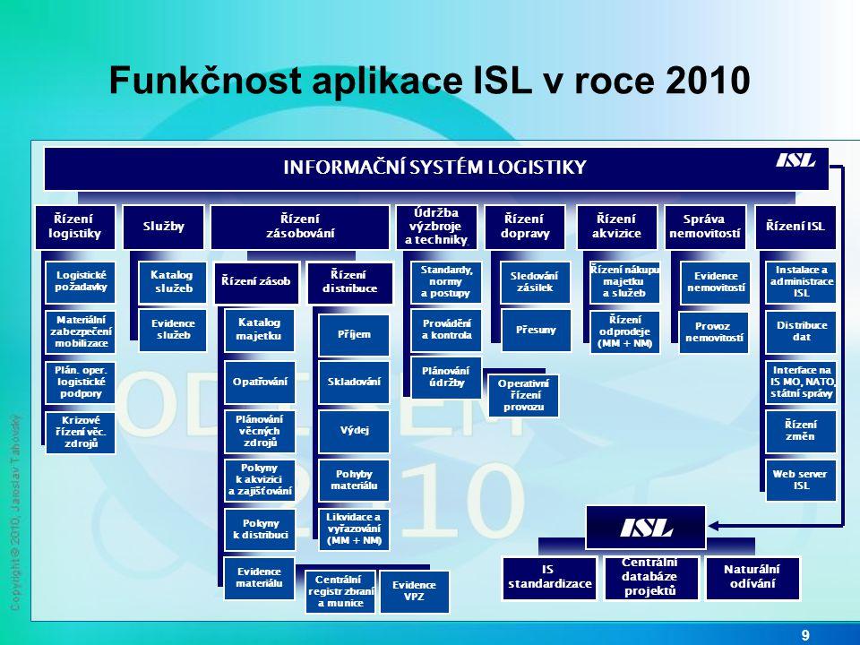 Funkčnost aplikace ISL v roce 2010 9 INFORMAČNÍ SYSTÉM LOGISTIKY IS standardizace Řízení akvizice Řízení odprodeje (MM + NM) Řízení nákupu majetku a s