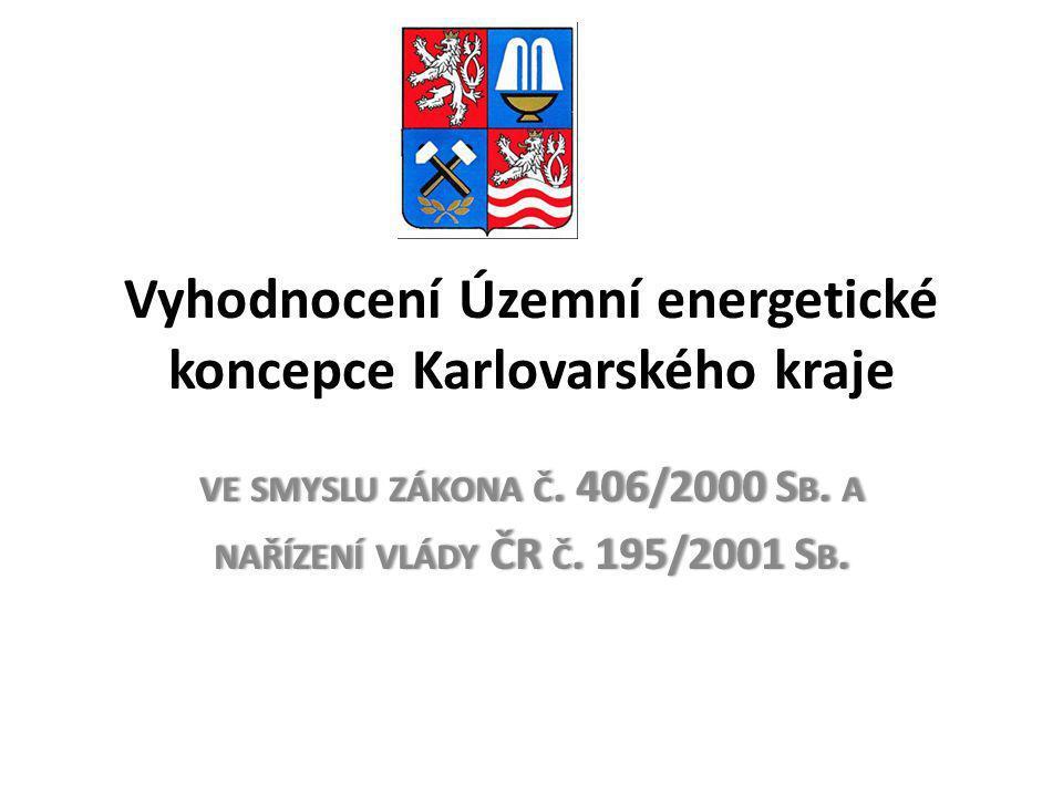 • Na území Karlovarského kraje jsou v současné době zastoupeny následující typy výrob elektrické energie: • klasické elektrárny spalující pevná, případně plynná paliva, jejichž konfigurace a instalovaný výkon přesahují rámec kraje - Elektrárna Tisová (295,8 MWe) a Elektrárna Vřesová (395 MWe) • menší výrobny elektrické energie – teplárenské zdroje s výrobou elektrické energie • malé vodní elektrárny 6,9 MW • větrné elektrárny 4 MW • fotovoltaické elektrárny 7,157 MW • V karlovarském kraji je elektrická energie napojena přes 14 velkých trafostanic 110/22 kV