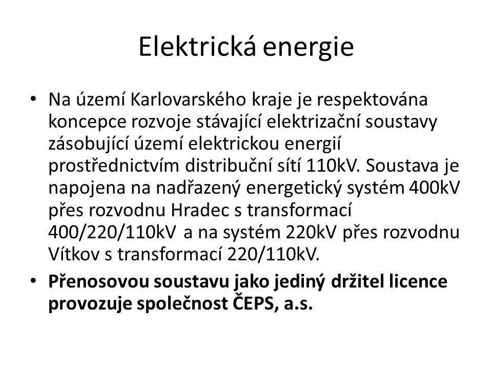 Elektrická energie • Na území Karlovarského kraje je respektována koncepce rozvoje stávající elektrizační soustavy zásobující území elektrickou energi