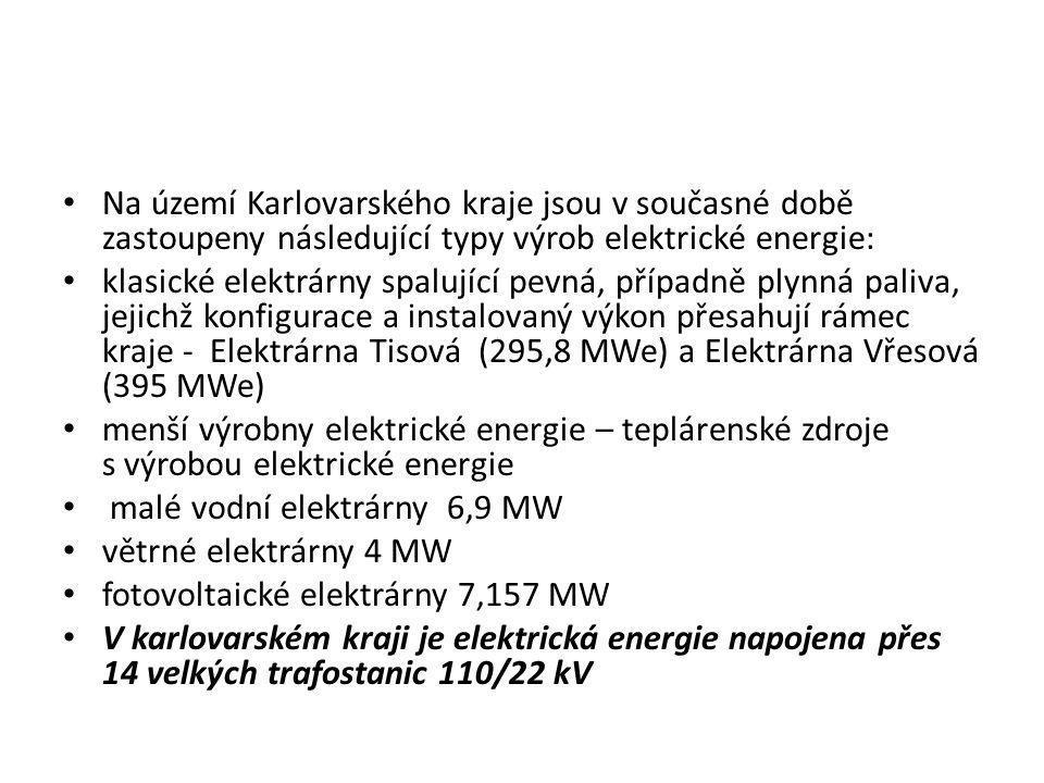 • Na území Karlovarského kraje jsou v současné době zastoupeny následující typy výrob elektrické energie: • klasické elektrárny spalující pevná, přípa