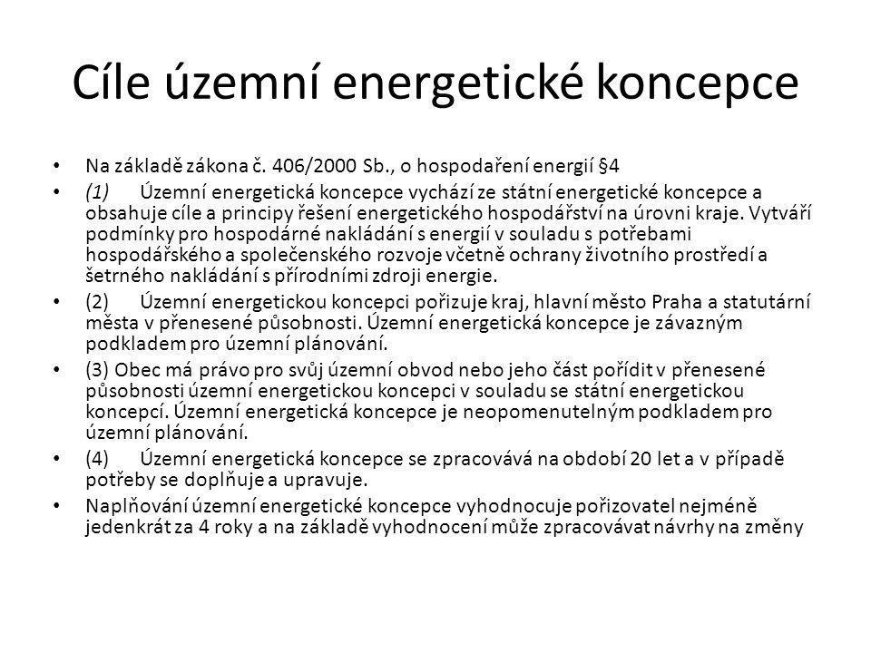 • Energetická legislativa České republiky vycházející z legislativy EU klade stejný důraz na bezpečnost dodávek energie, udržitelnost a konkurenceschopnost: • funkční a stabilní energetický trh • podpora úspor energie ve sféře konečné spotřeby a podpora zvyšování účinnosti energetických přeměn • podpora využívání obnovitelných zdrojů energie • minimalizace negativních dopadů provozu a rozvoje energetiky na životní prostředí a změny klimatu