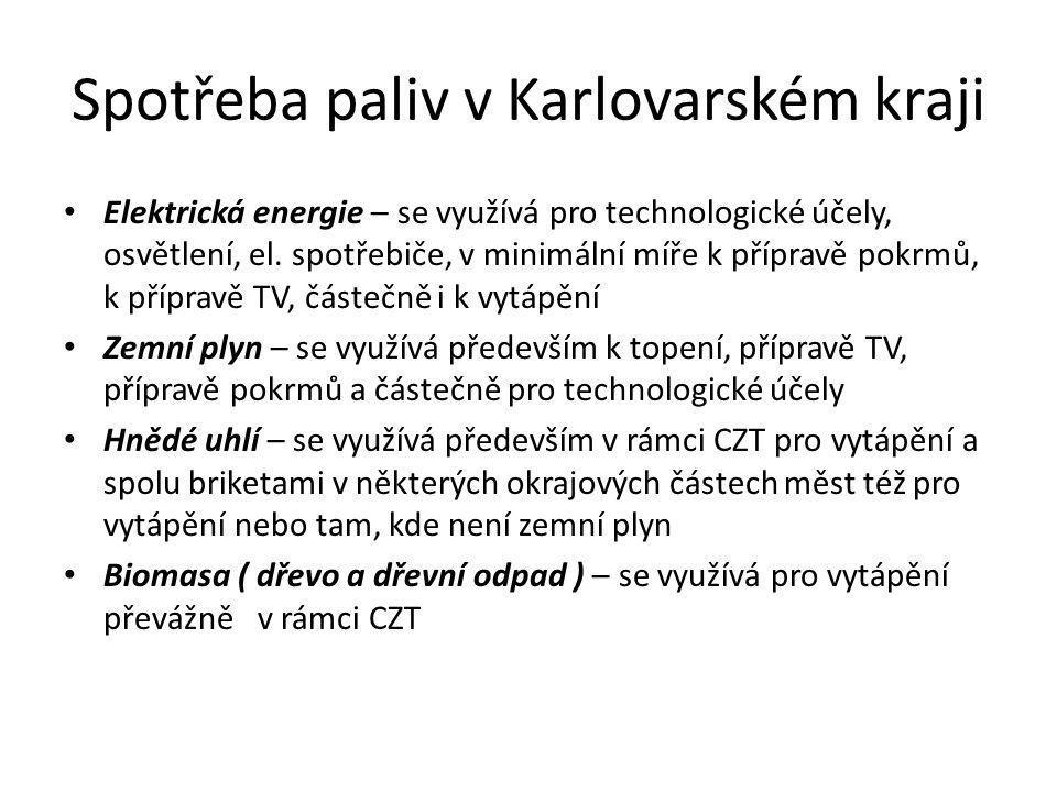 Spotřeba paliv v Karlovarském kraji • Elektrická energie – se využívá pro technologické účely, osvětlení, el. spotřebiče, v minimální míře k přípravě