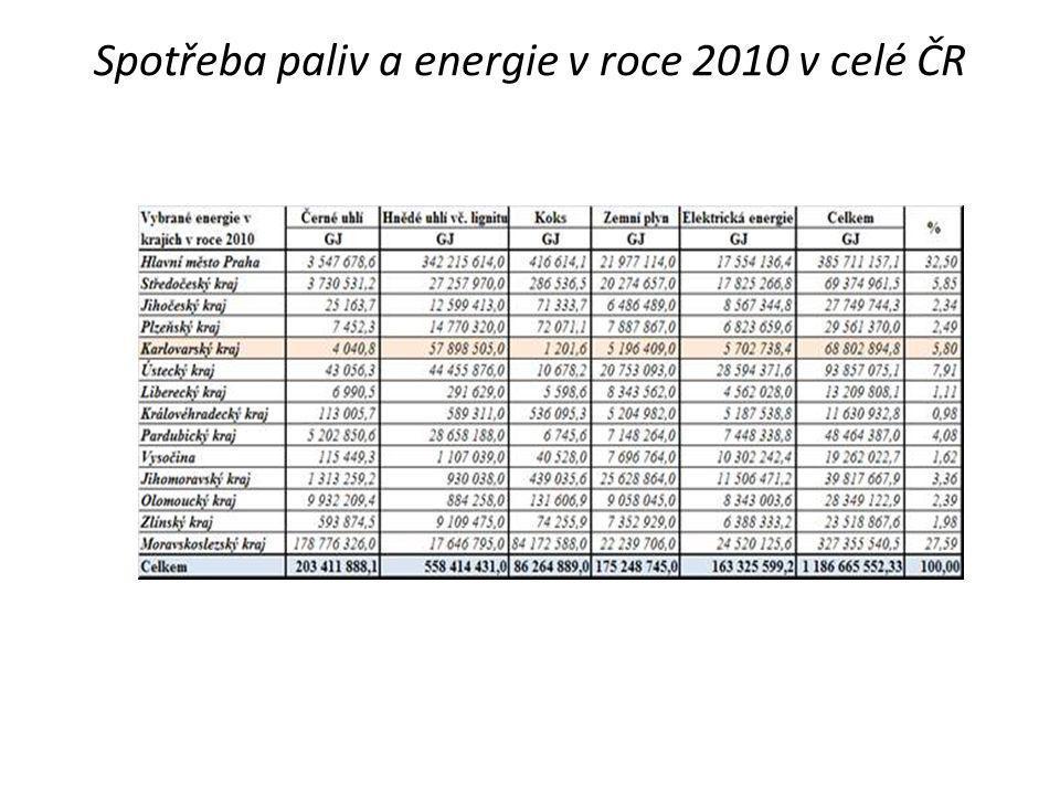 Spotřeba paliv a energie v roce 2010 v celé ČR