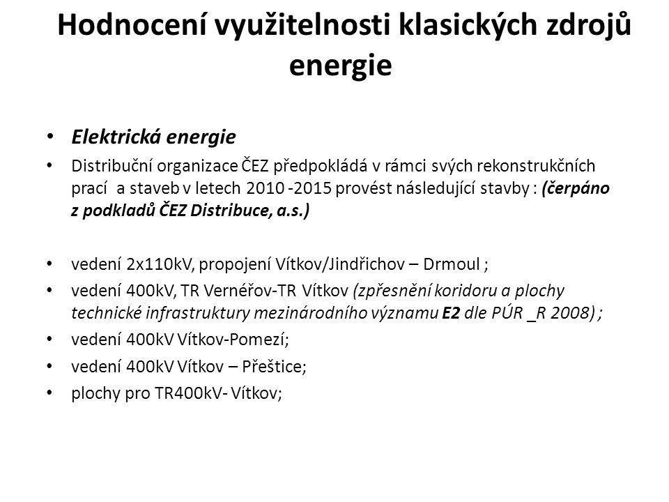 Hodnocení využitelnosti klasických zdrojů energie • Elektrická energie • Distribuční organizace ČEZ předpokládá v rámci svých rekonstrukčních prací a
