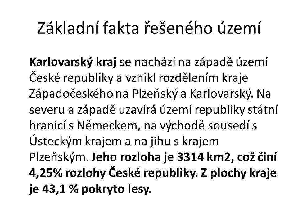 Základní fakta řešeného území Karlovarský kraj se nachází na západě území České republiky a vznikl rozdělením kraje Západočeského na Plzeňský a Karlov