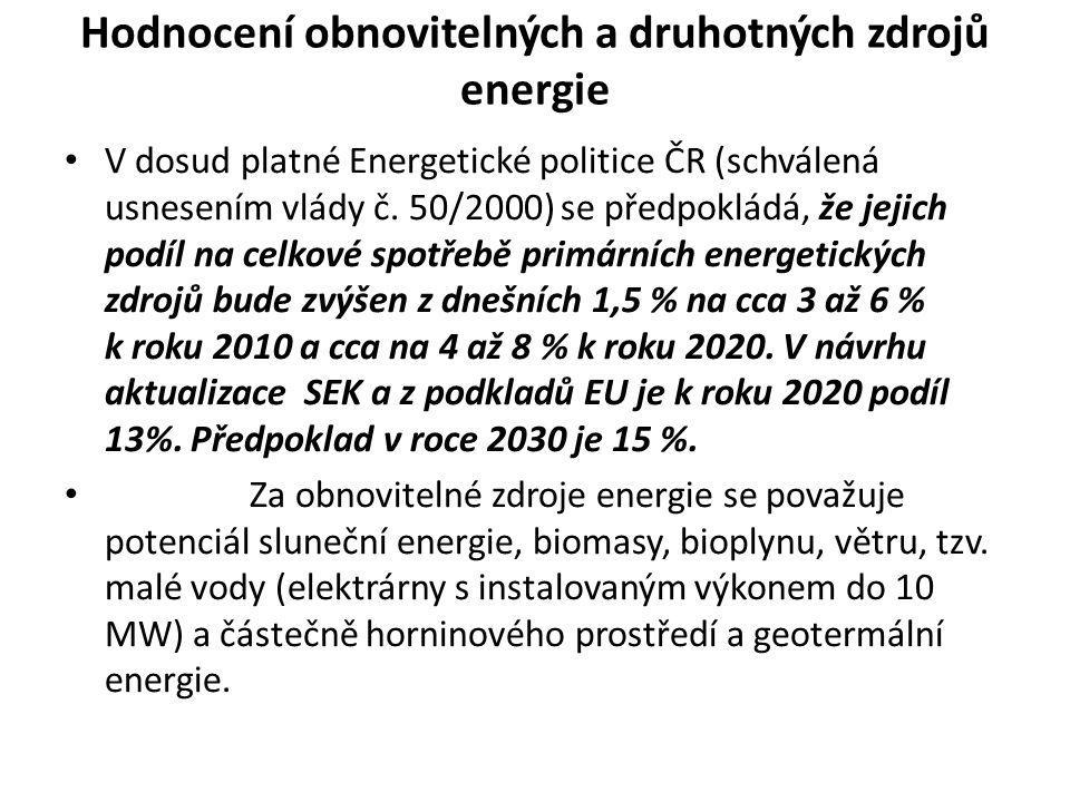 Hodnocení obnovitelných a druhotných zdrojů energie • V dosud platné Energetické politice ČR (schválená usnesením vlády č. 50/2000) se předpokládá, že