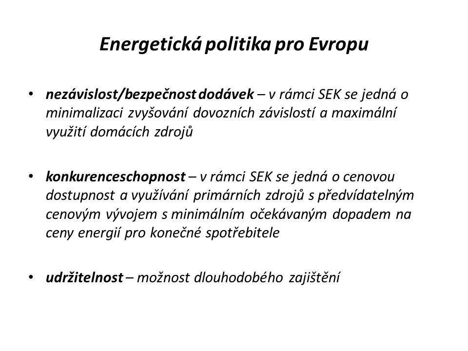 Energetická politika pro Evropu • nezávislost/bezpečnost dodávek – v rámci SEK se jedná o minimalizaci zvyšování dovozních závislostí a maximální využ
