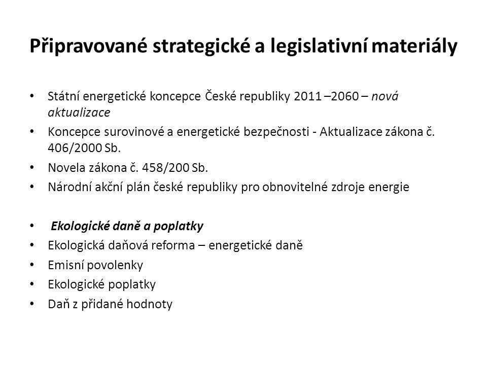 Připravované strategické a legislativní materiály • Státní energetické koncepce České republiky 2011 –2060 – nová aktualizace • Koncepce surovinové a