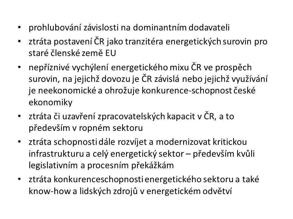 • prohlubování závislosti na dominantním dodavateli • ztráta postavení ČR jako tranzitéra energetických surovin pro staré členské země EU • nepříznivé