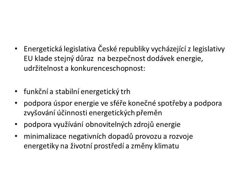 • Energetická legislativa České republiky vycházející z legislativy EU klade stejný důraz na bezpečnost dodávek energie, udržitelnost a konkurencescho