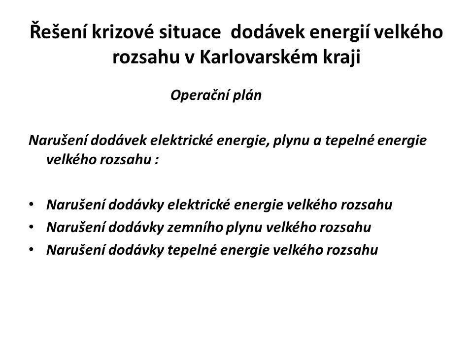 Řešení krizové situace dodávek energií velkého rozsahu v Karlovarském kraji Operační plán Narušení dodávek elektrické energie, plynu a tepelné energie