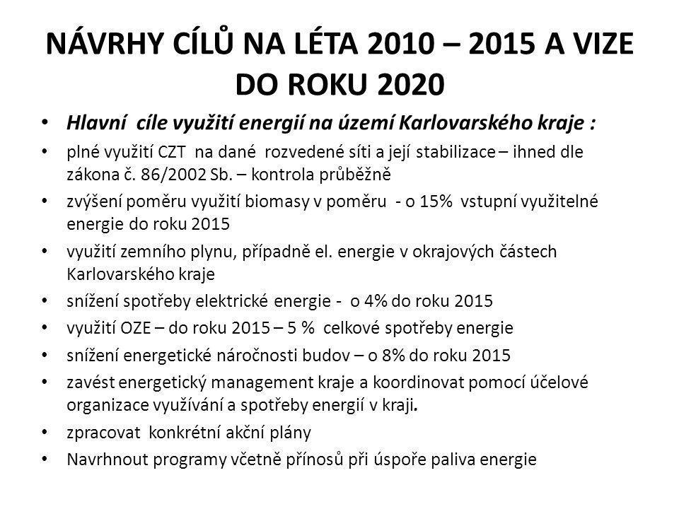 NÁVRHY CÍLŮ NA LÉTA 2010 – 2015 A VIZE DO ROKU 2020 • Hlavní cíle využití energií na území Karlovarského kraje : • plné využití CZT na dané rozvedené