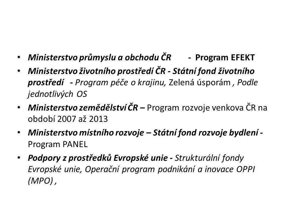 • Ministerstvo průmyslu a obchodu ČR- Program EFEKT • Ministerstvo životního prostředí ČR - Státní fond životního prostředí - Program péče o krajinu,
