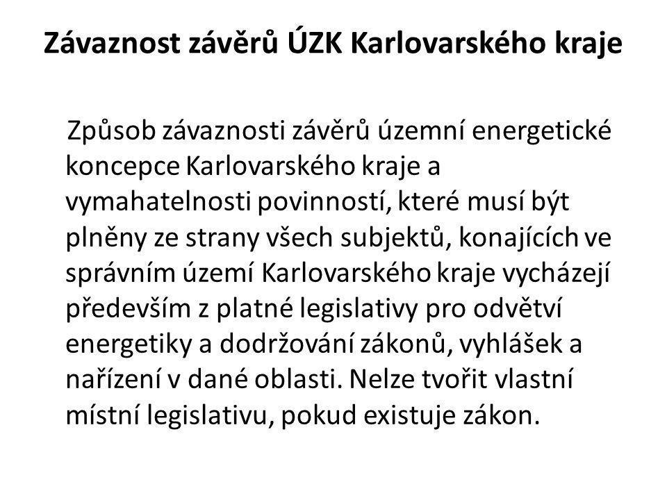 Závaznost závěrů ÚZK Karlovarského kraje Způsob závaznosti závěrů územní energetické koncepce Karlovarského kraje a vymahatelnosti povinností, které m
