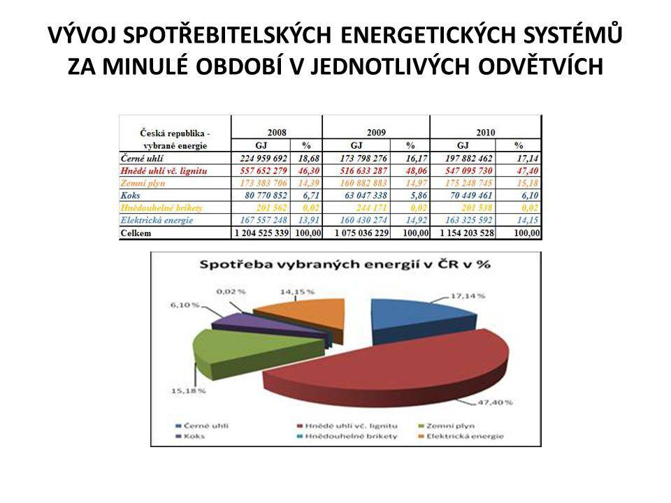 VÝVOJ SPOTŘEBITELSKÝCH ENERGETICKÝCH SYSTÉMŮ ZA MINULÉ OBDOBÍ V JEDNOTLIVÝCH ODVĚTVÍCH