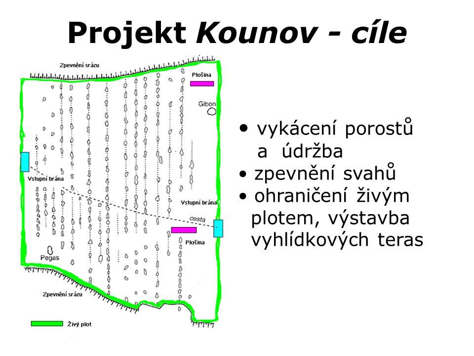 Projekt Kounov - cíle • vykácení porostů a údržba • zpevnění svahů • ohraničení živým plotem, výstavba vyhlídkových teras