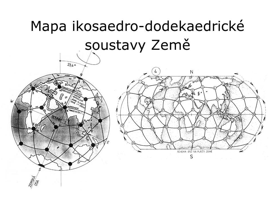 Mapa ikosaedro-dodekaedrické soustavy Země