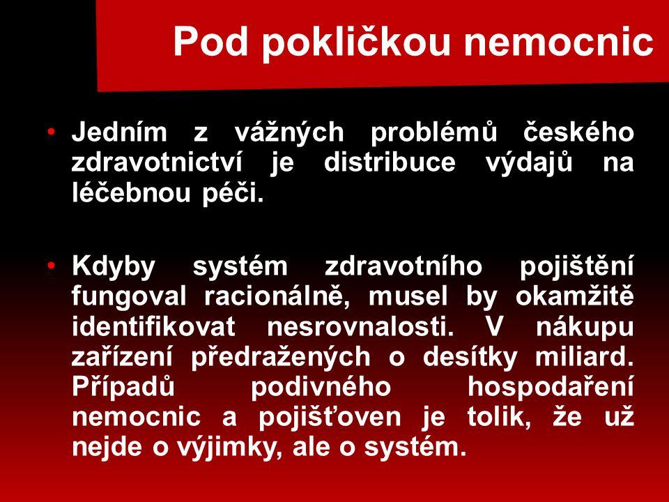 Pod pokličkou nemocnic •Jedním z vážných problémů českého zdravotnictví je distribuce výdajů na léčebnou péči.
