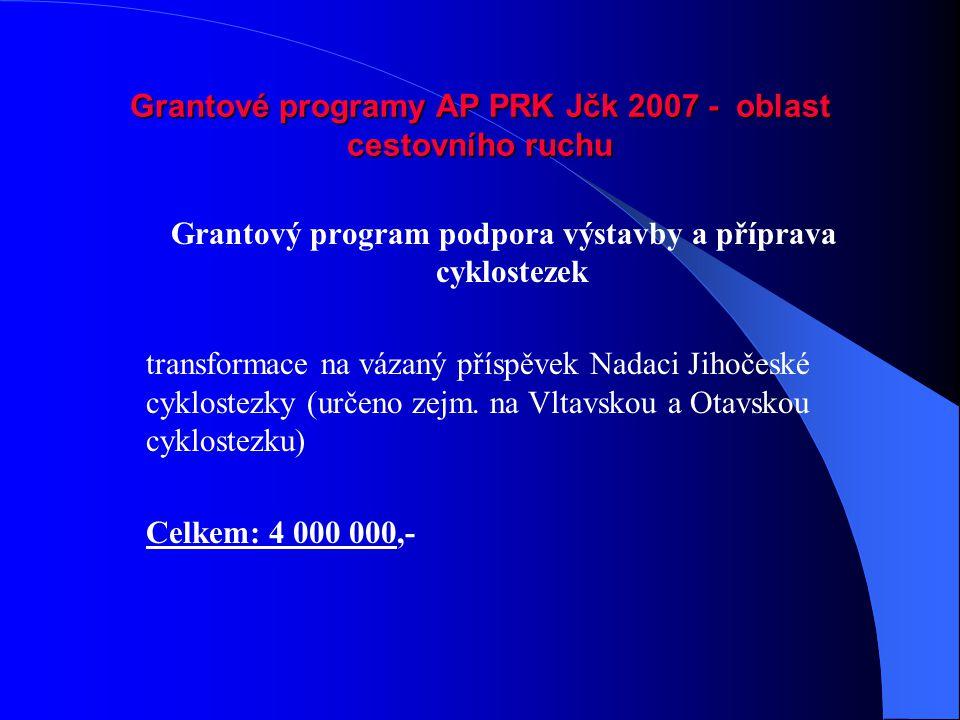 Grantové programy AP PRK Jčk 2007 - oblast cestovního ruchu Grantový program podpora výstavby a příprava cyklostezek transformace na vázaný příspěvek Nadaci Jihočeské cyklostezky (určeno zejm.