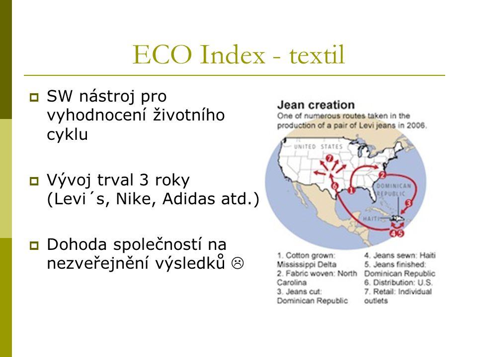 ECO Index - textil  SW nástroj pro vyhodnocení životního cyklu  Vývoj trval 3 roky (Levi´s, Nike, Adidas atd.)  Dohoda společností na nezveřejnění výsledků 