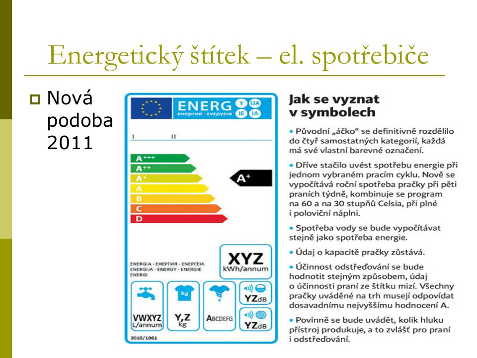 Energetický štítek – el. spotřebiče  Nová podoba 2011