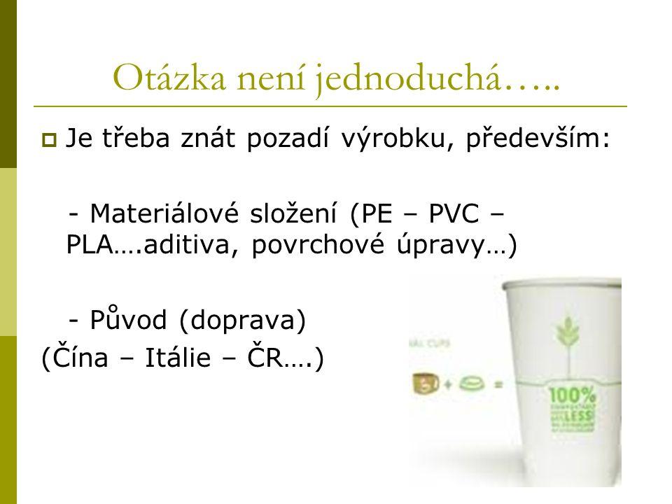 Otázka není jednoduchá…..  Je třeba znát pozadí výrobku, především: - Materiálové složení (PE – PVC – PLA….aditiva, povrchové úpravy…) - Původ (dopra