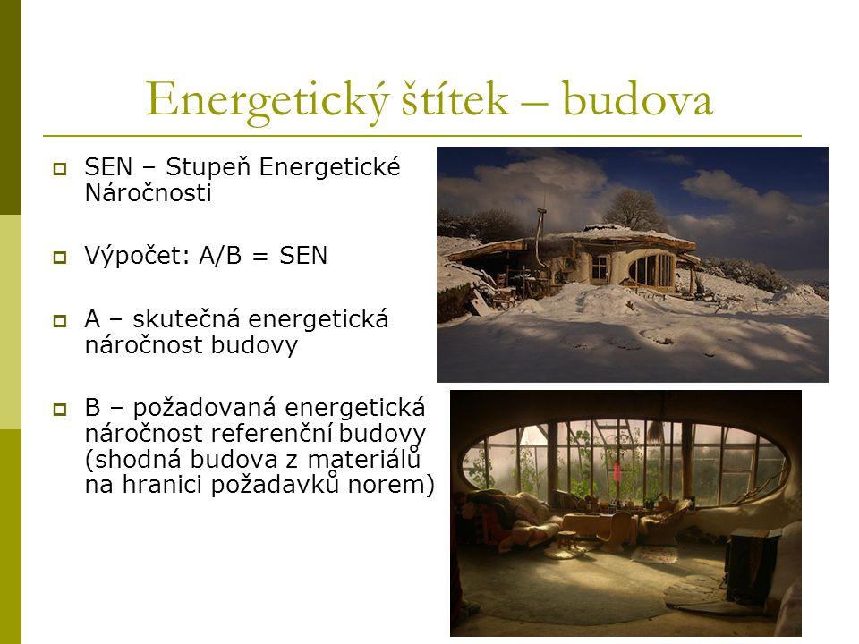  SEN – Stupeň Energetické Náročnosti  Výpočet: A/B = SEN  A – skutečná energetická náročnost budovy  B – požadovaná energetická náročnost referenč