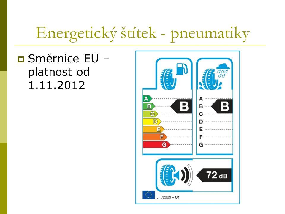 Energetický štítek - pneumatiky  Směrnice EU – platnost od 1.11.2012