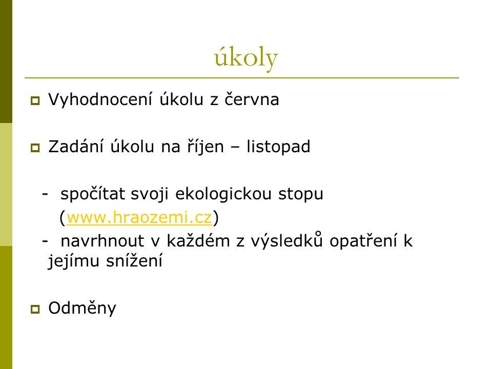 úkoly  Vyhodnocení úkolu z června  Zadání úkolu na říjen – listopad - spočítat svoji ekologickou stopu (www.hraozemi.cz)www.hraozemi.cz - navrhnout