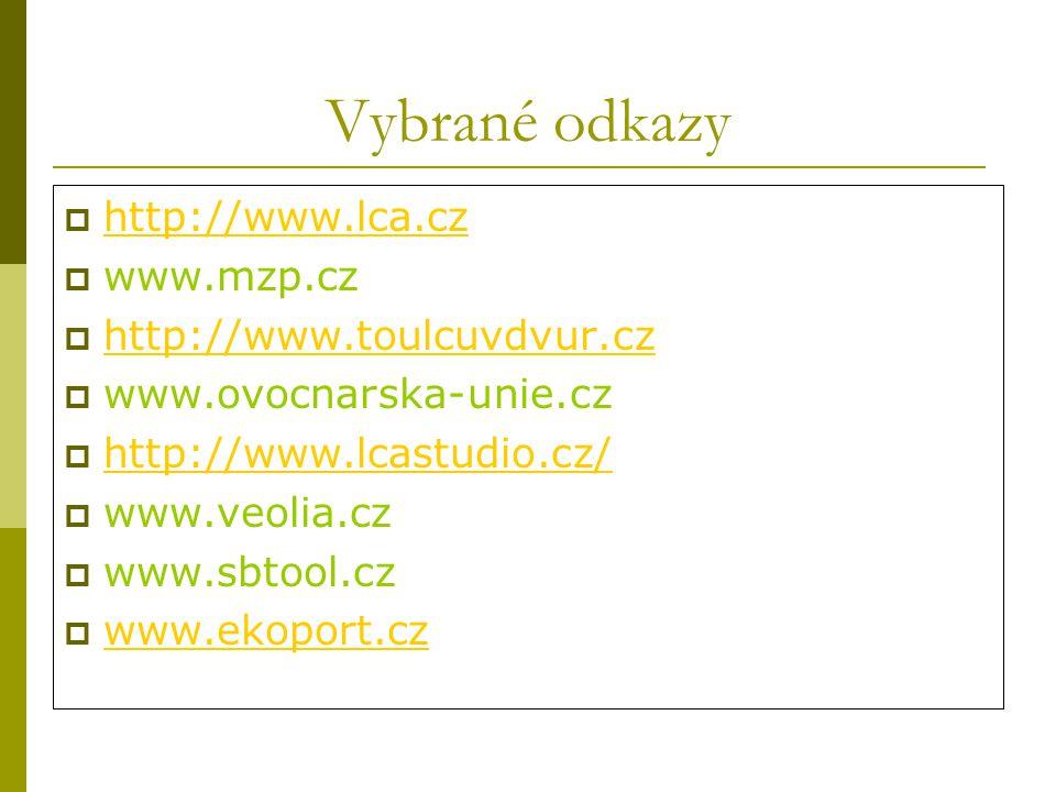 Vybrané odkazy  http://www.lca.cz http://www.lca.cz  www.mzp.cz  http://www.toulcuvdvur.cz http://www.toulcuvdvur.cz  www.ovocnarska-unie.cz  http://www.lcastudio.cz/ http://www.lcastudio.cz/  www.veolia.cz  www.sbtool.cz  www.ekoport.cz www.ekoport.cz