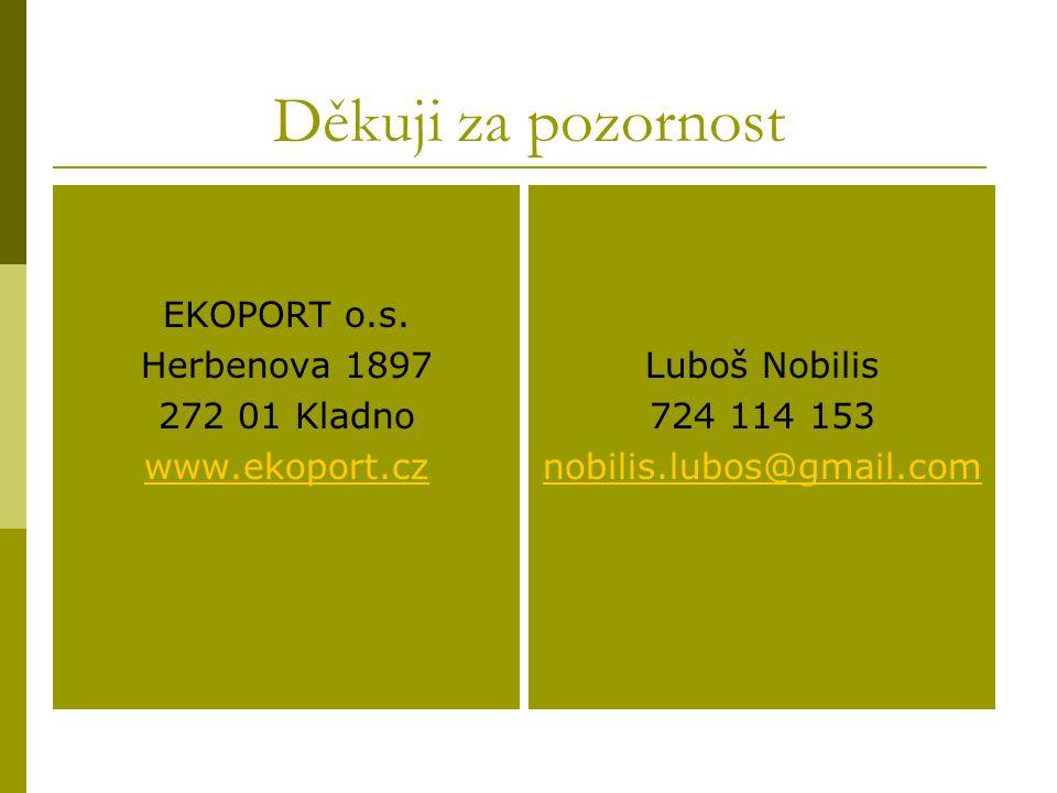 Děkuji za pozornost EKOPORT o.s. Herbenova 1897 272 01 Kladno www.ekoport.cz Luboš Nobilis 724 114 153 nobilis.lubos@gmail.com