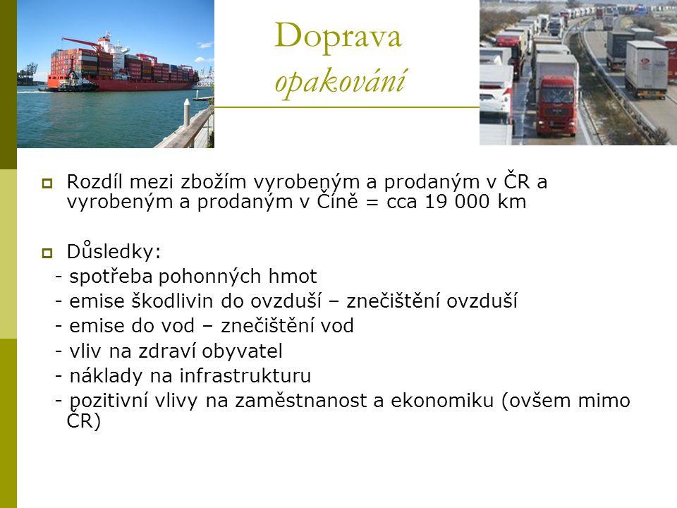 Doprava opakování  Rozdíl mezi zbožím vyrobeným a prodaným v ČR a vyrobeným a prodaným v Číně = cca 19 000 km  Důsledky: - spotřeba pohonných hmot -